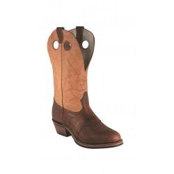 BOULET Mens's Buckaroo Round-Toe bulls hide boots 4163