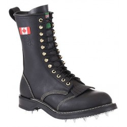 Canada West 14366 Plain-Toe Calk Logger Sole Black Loggertan Lace Work Boots