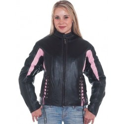 Womens Black & Pink Leather Racer Jacket With Multi Pockets