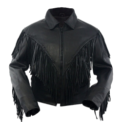 WOMENS LEATHER MOTORCYCLE JACKET with FRINGE 37755