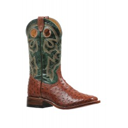 Boulet 8522 Brandy Ostrich Wide Square Toe Boots