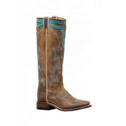 "Boulet Ladies 16"" Stovepipe Golden West Turqueza Wide Square Toe Boot 6205"
