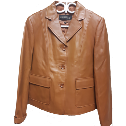 Ladies Caramel Casual Leather Jacket