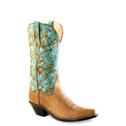 Old West LF1542 Tan Fry Foot Turquoise Shaft Ladies boots