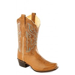 Old West -Light Brown Ladies Medium Square Toe Boot - 18006
