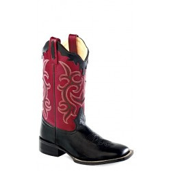 Old West 18103 Black/Red Ladies Broad Square Toe