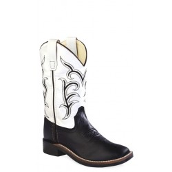 OLD WEST BSC1857 Black Foot/White Shaft Boot - Childrens