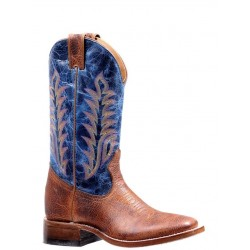 "Boulet Ladies 12"" BISON Shrunken Bomber Lava Electric Blue Wide Square Toe Boot 7242"