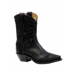 "Boulet 8"" Ladies Black Art Barocco Calf Split Blue Snip Toe Boot 4636"