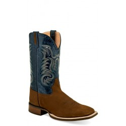OLD WEST - Mens Brown Nubuck - Blue Crucnch Broad Square Toe Boot BSM1822
