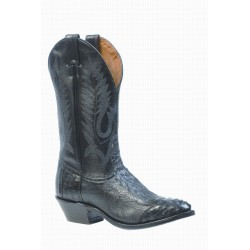 Boulet 4 Piece Smooth Ostrich-Black Medium Cowboy Toe Boot 1513