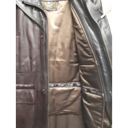 Mens Soft Casual Bbown Leather Jacket with black collar- Zipout Liner