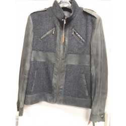 Casual leather & Wool combo jacket Green /Grey /Blu. 4804