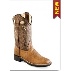Jama Old West Childs Tan Vintage Broad Square Toe Boots VB9113
