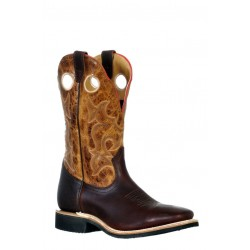 Boulet 9348 Grizzly Mountain Lone Star Cognac Wide Square Toe Boots