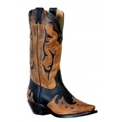 Boulet 9612 Ladies Grasso Black/HillBilly Golden Snip Toe Boots