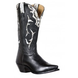 Boulet 9617 Ladies Silky Black/Reticulus White Snip Toe Boots