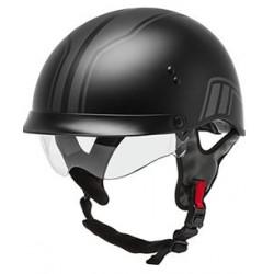 Gmax HH-65 Twin Full Dressed Half Helmet-Matte Black/Silver