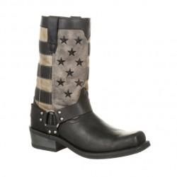 Men's Durango Black/Charcoal/Grey Flag Western Boots