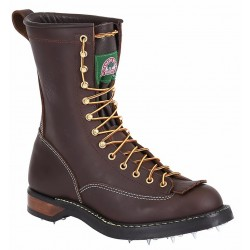 Canada West 14435 Plain-Toe Calk Logger Sole Walnut Loggertan Lace Work Boots