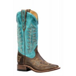 "Boulet Ladies 13"" West Turqueza HillBilly Golden Wide Square Toe Boot 4307"