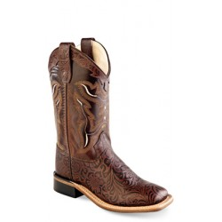Old West BSY1827 Youth Leather Boots (Goodyear Welted) Broad Square Toe Boots